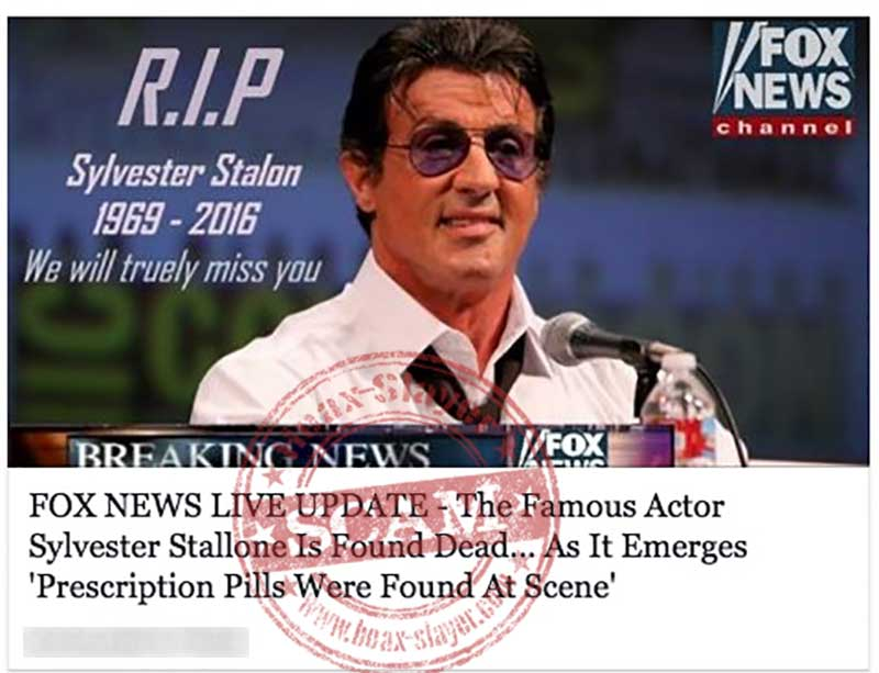 Sylvester Stallone 'dies' in internet hoax