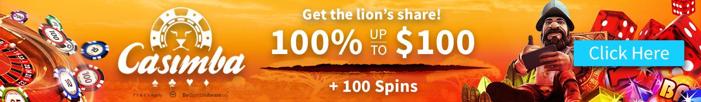 Get a 100% Up $100 Bonus at Casimba Casino